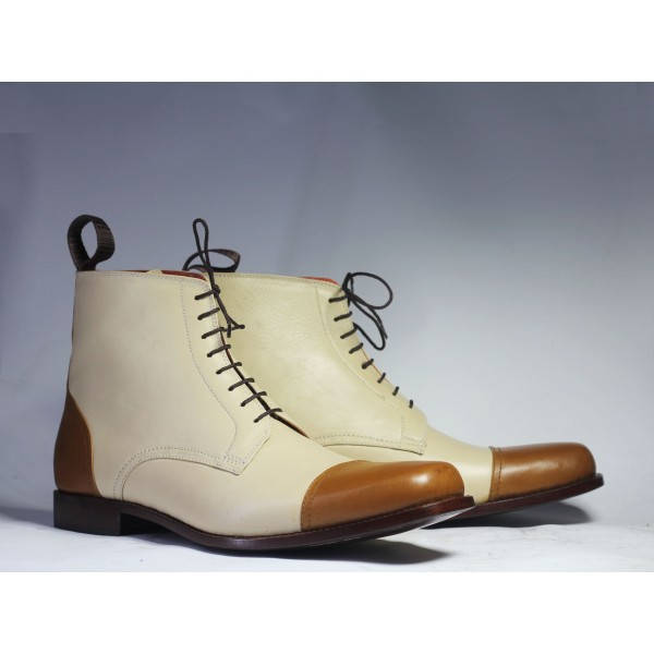 Ankle Brown White Cap Toe Lace Up Leather Boot