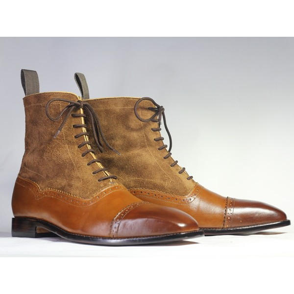 Ankle 2 Tone Brown Sued Leather & Suede Lace Up Boot