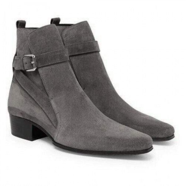 Handmade Men Gray Suede Ankle boots