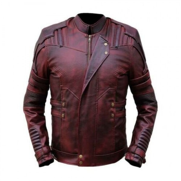 Men Real Leather Guardian of the Galaxy Hand Made Lamb Skin Genuine Leather Jacket
