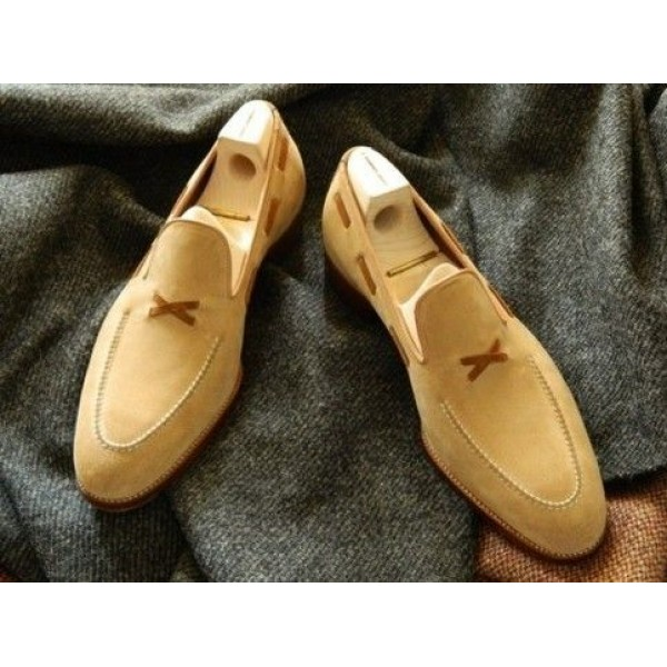 Handmade Men's Suede Loafers Shoes
