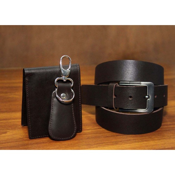 Men Dark Brown Genuine Leather Wallet and Belt Gift Pack leather fashion