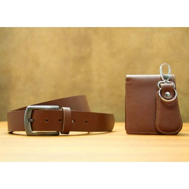 Men Light Brown Genuine Leather Wallet and Belt Gift Pack leather fashion