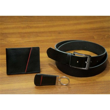 Men Black Genuine Leather Wallet and Belt Gift Pack leather fashion